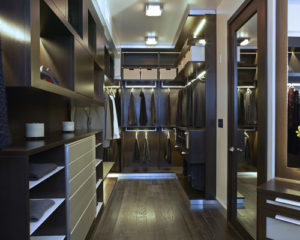 wood finish male's closet